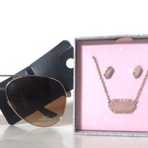 Deal🆕Nwt Necklace set & aviator Sunglasses.
